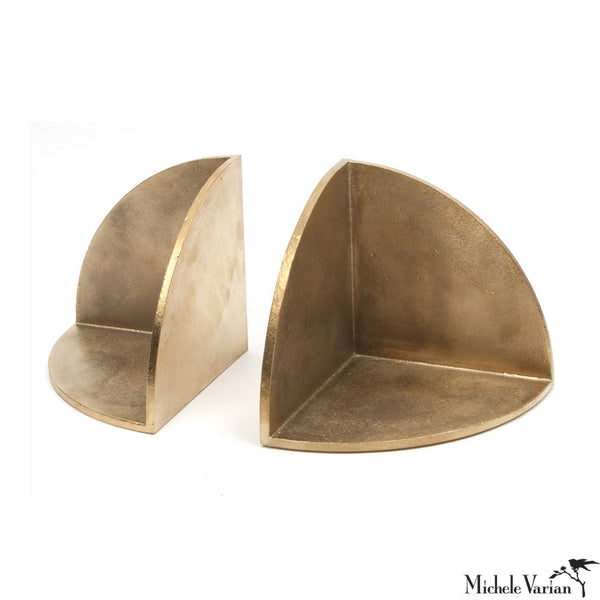 Radial Sand-Cast Brass Bookends