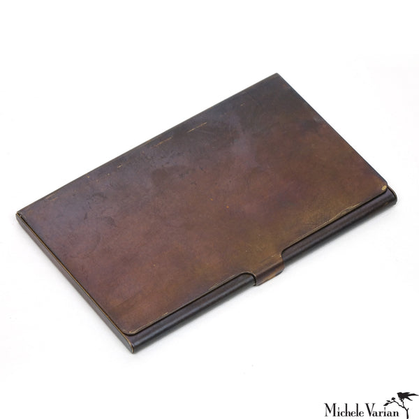 Brass Patina Slim Card Carrier