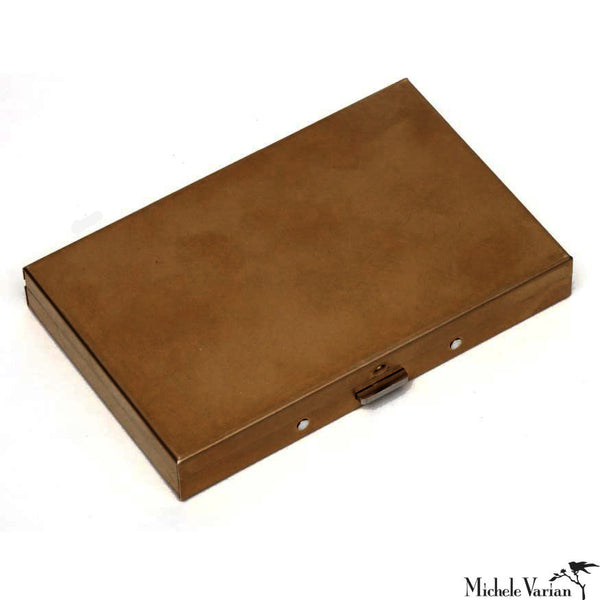 Brass Patina Card Case Wide