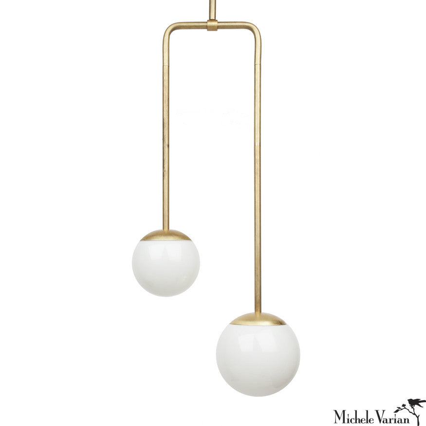 Double Circuit Globe Pendant Light Fixture in Brass