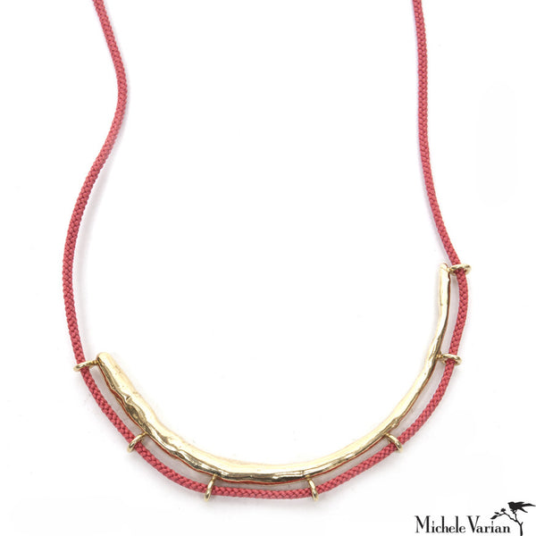 Brass Crescent Necklace on Pink Cord