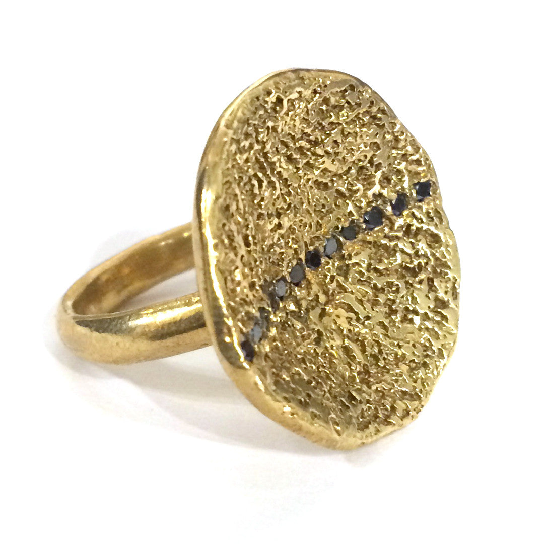 Brass and Black Diamond Line Ring