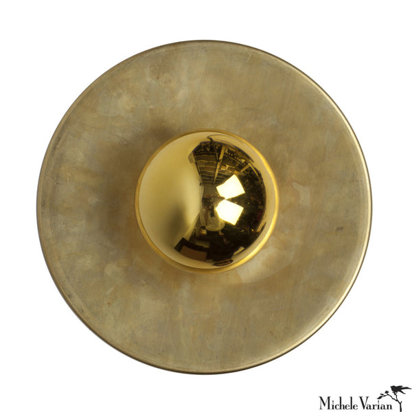 "Discus Flush Mount Brass 8"" Sconce"
