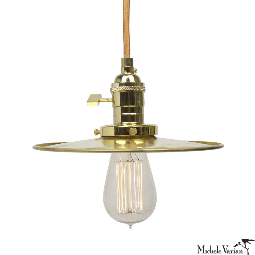 Discus Pendant Retro Industrial Pendant Light 8 inch in Brass