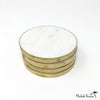 Brass Edged Marble Coasters White