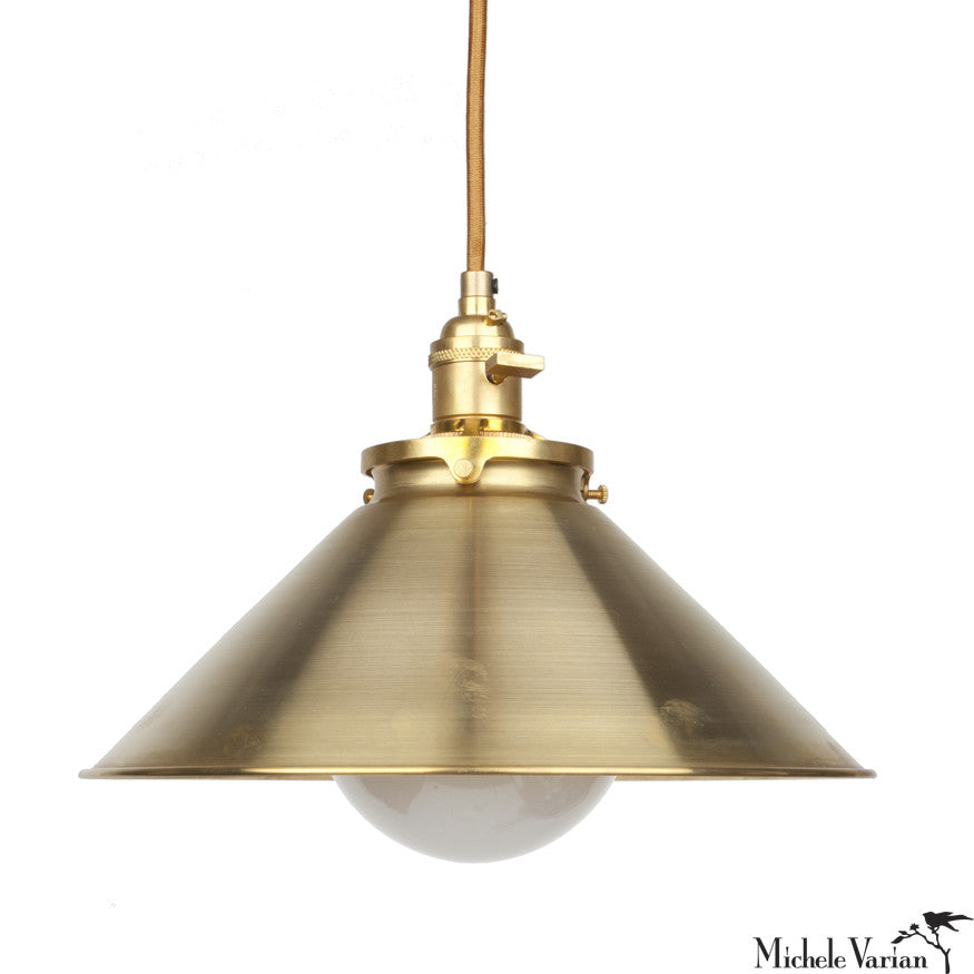 DISCONTINUED Funnel Retro Industrial Pendant Light 10 inch in Brass
