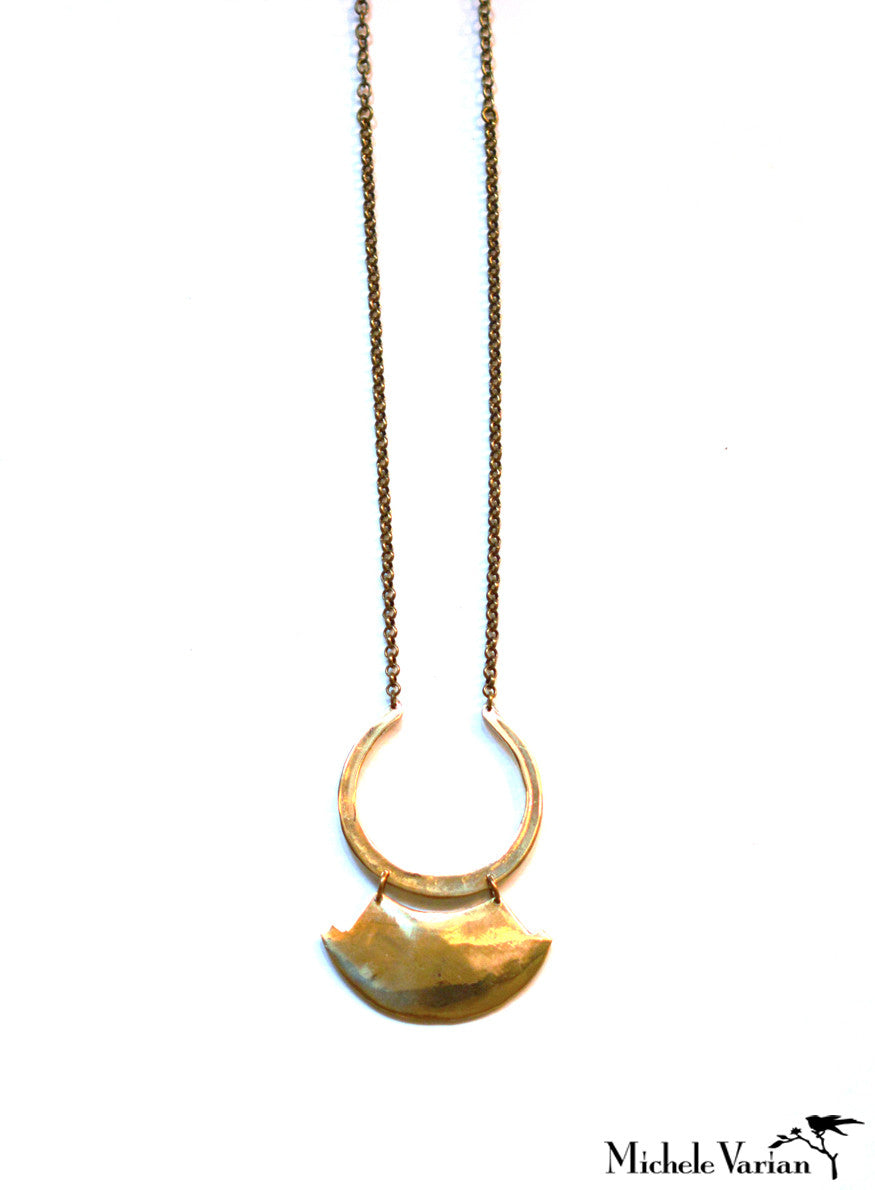 Brass Hinged Pendant Necklace