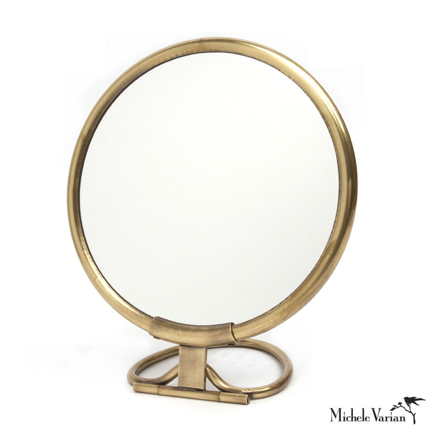 Brass frame round tabletop mirror michele varian shop