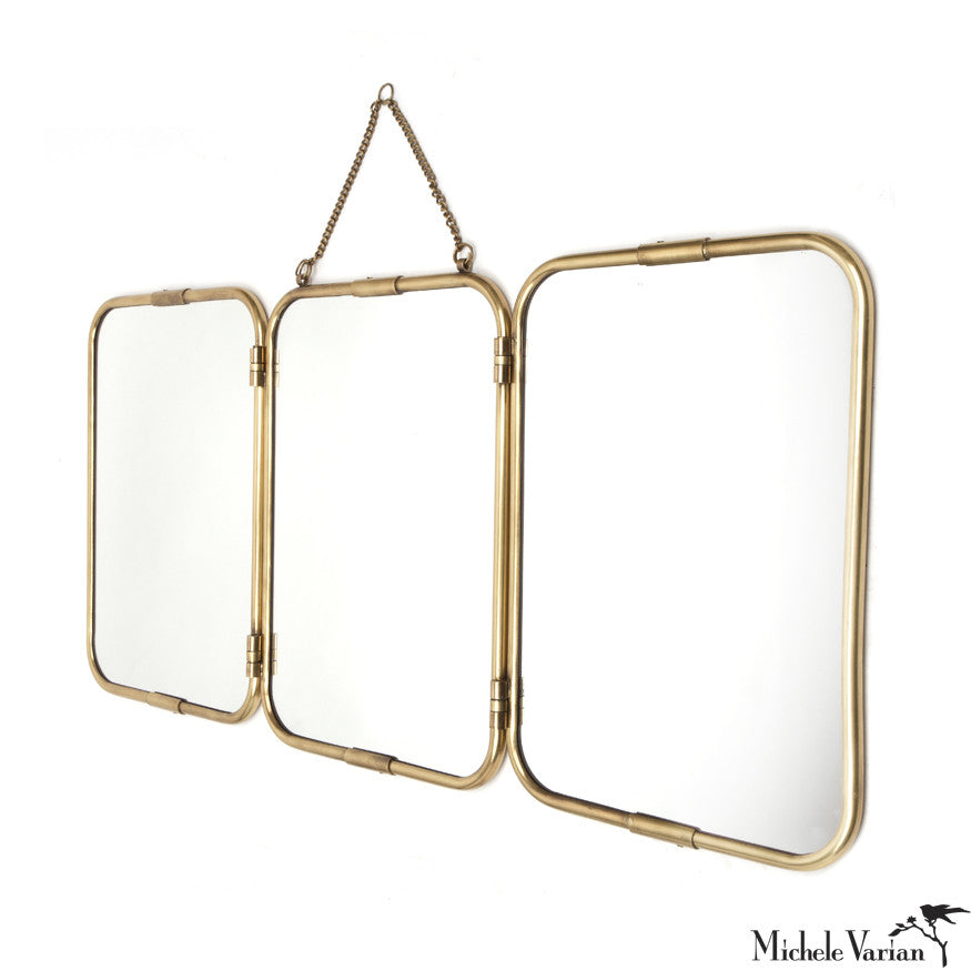 Brass Frame Mirror Triple Panel