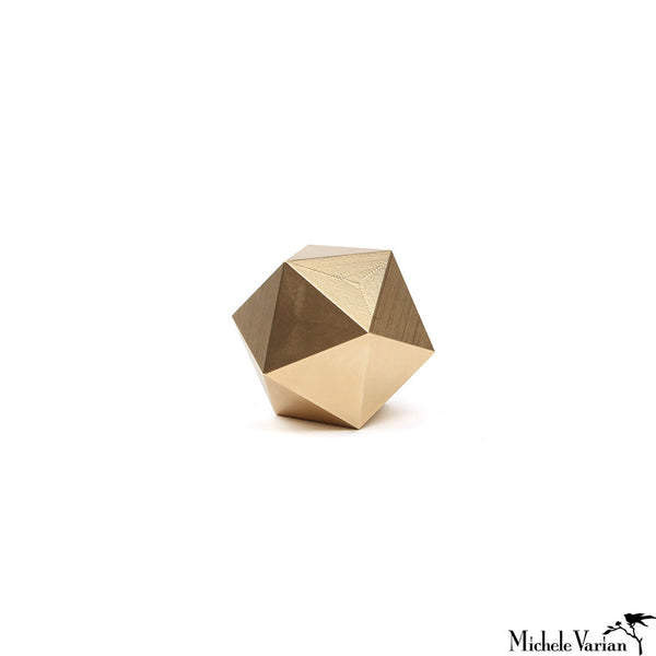 Brass Icosahedron Paperweight