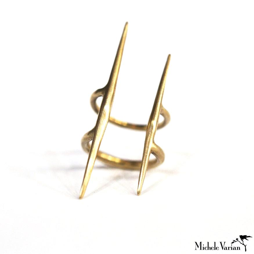 Brass Double Spike Ring