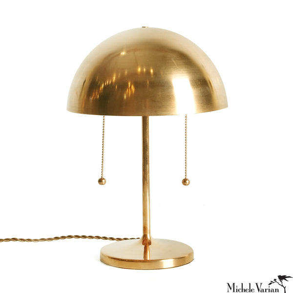 Simplistic Spun Brass Table Lamp with Double Pull Chains