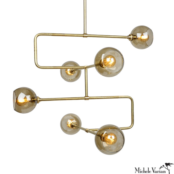 Brass Stacked Triple Circuit Chandelier Pendant Light