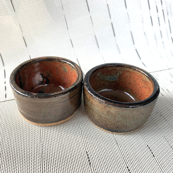 Brown Black Glazed Stoneware Spice Bowls