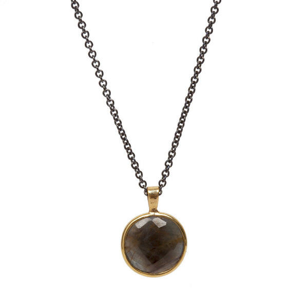 Brown Sapphire Slice Necklace