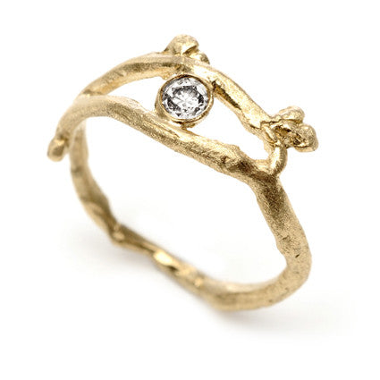 Gold Bud Ring With Diamond