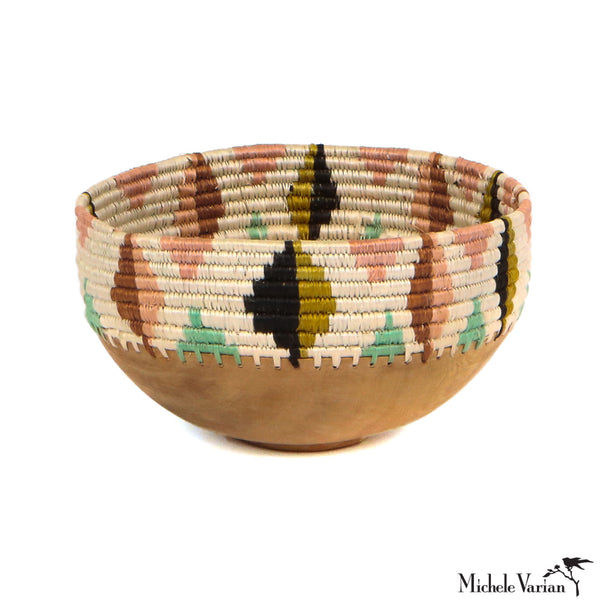 Medium Colorful Abstract Woven Sisal and Wooden Bowl