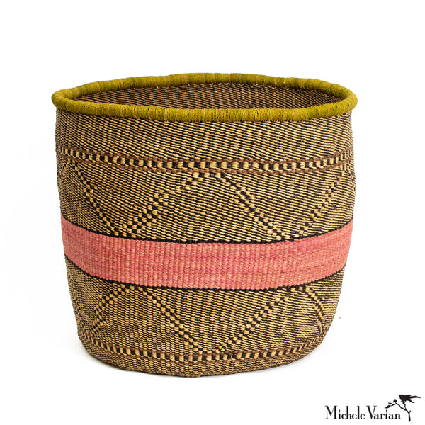 Extra Large Blush and Black Grass Planter 16 inch diameter