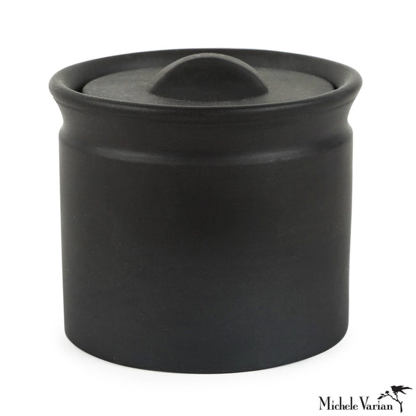 Matte Black Lidded Stoneware Jar Small