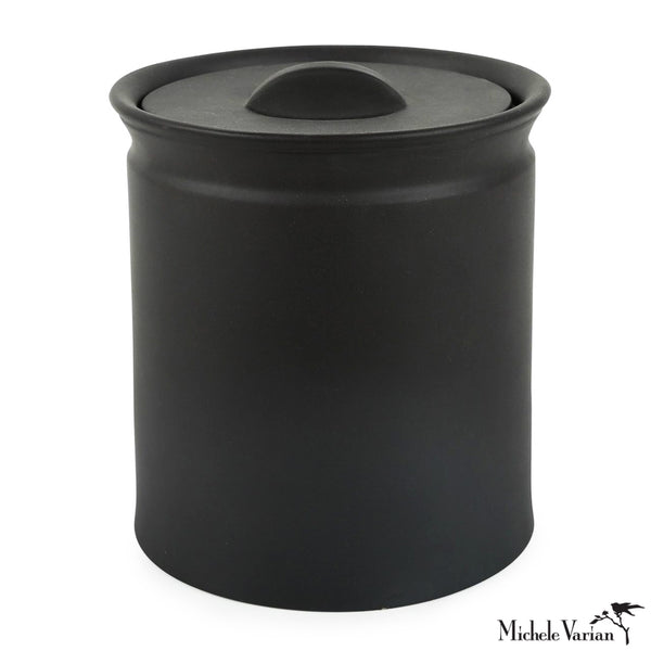 Matte Black Lidded Stoneware Jar Medium