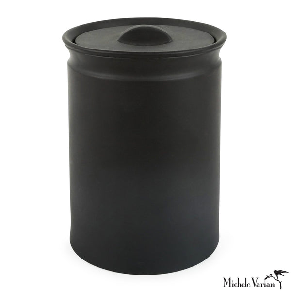 Matte Black Lidded Stoneware Jar Large