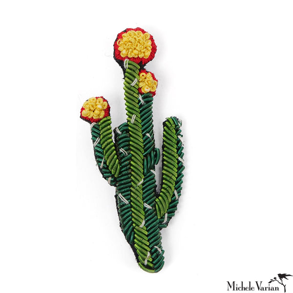 Red Tip Cactus Brooch Pin
