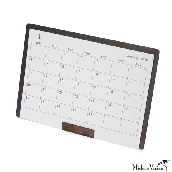 Patina Brass Desk Calendar