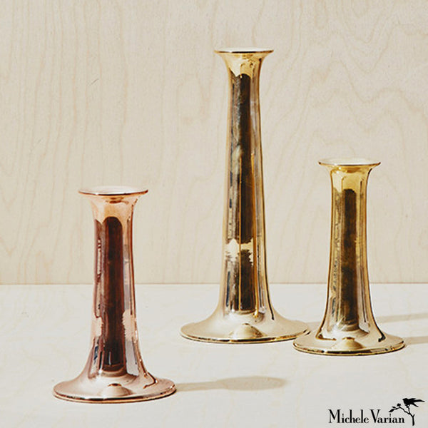 Simple Brass or Copper Candlesticks
