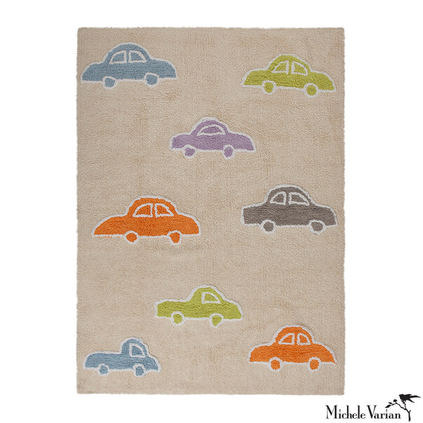 Multicolored Car Patterned Washable Rug