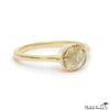 Large Rose Cut Grey Diamond Gold Cathedral Ring