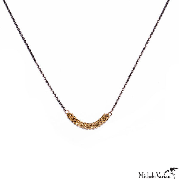 Slinky Short Chain Oxidized and Gold Necklace