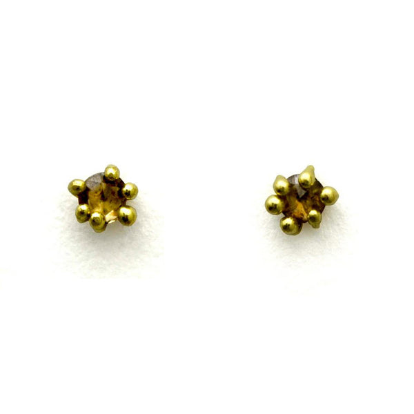 Cognac Diamond Stud Earrings