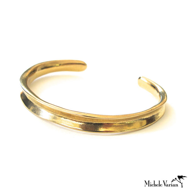Channel  Brass Cuff Bracelet