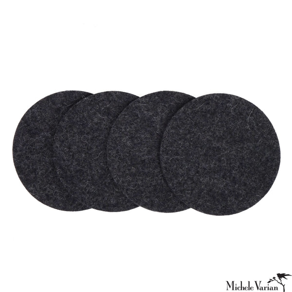 Round Felt Coasters Charcoal Set of 4