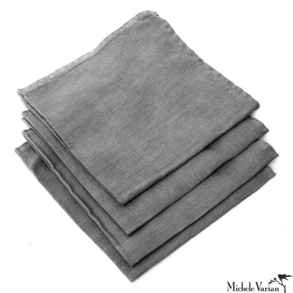 Charcoal Linen Napkins Set of 4