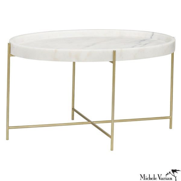 Oval Che Quartz and Brass Finish Metal Simple Frame Coffee Table
