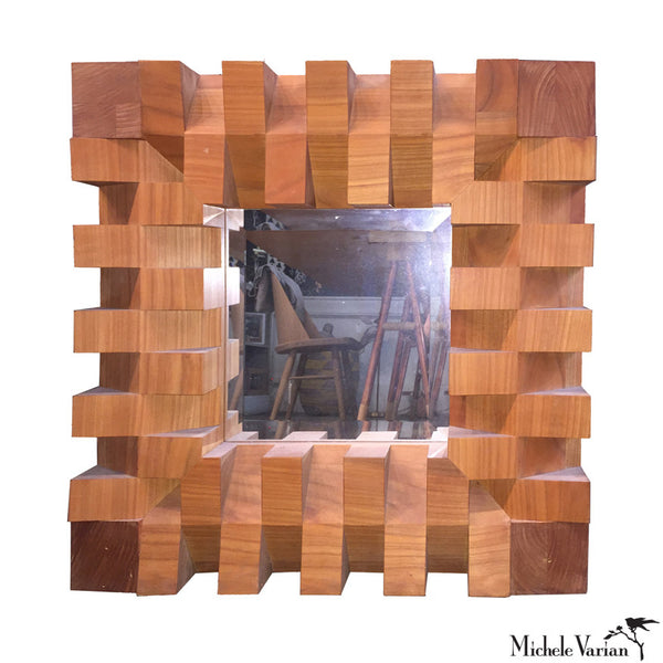 Cherry Block Wood Mirror