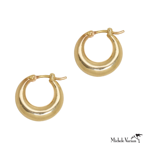 Crescent Huggy Solid Gold Hoops
