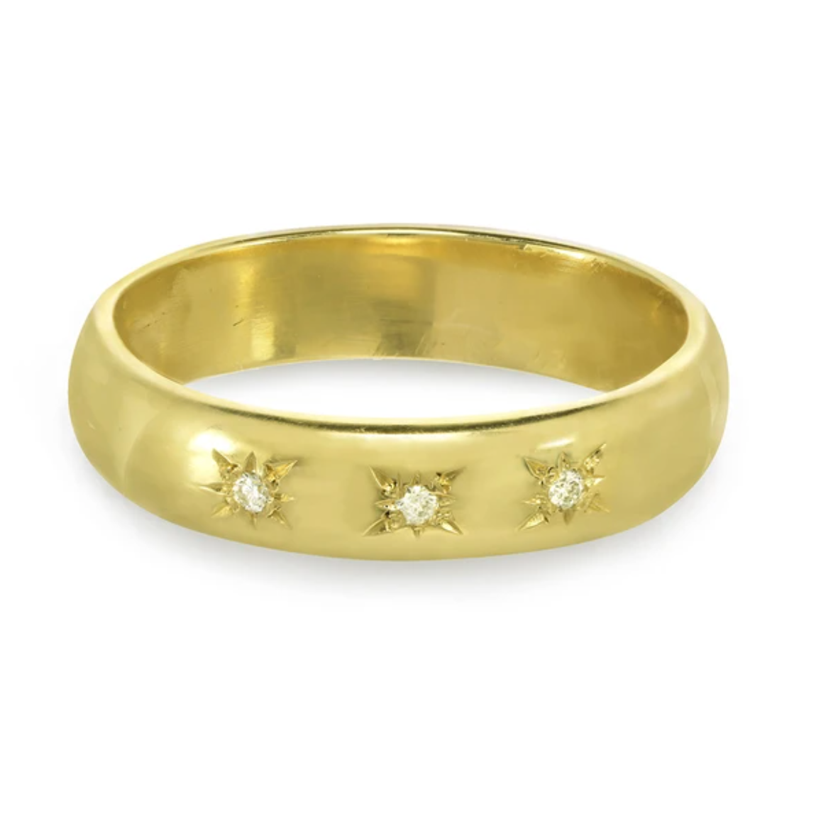 Classic Gold Ring with Star Set Diamonds