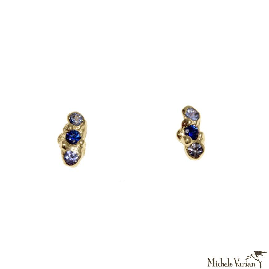 Shades of Blue Sapphire Trio Cloud Gold Stud Earrings