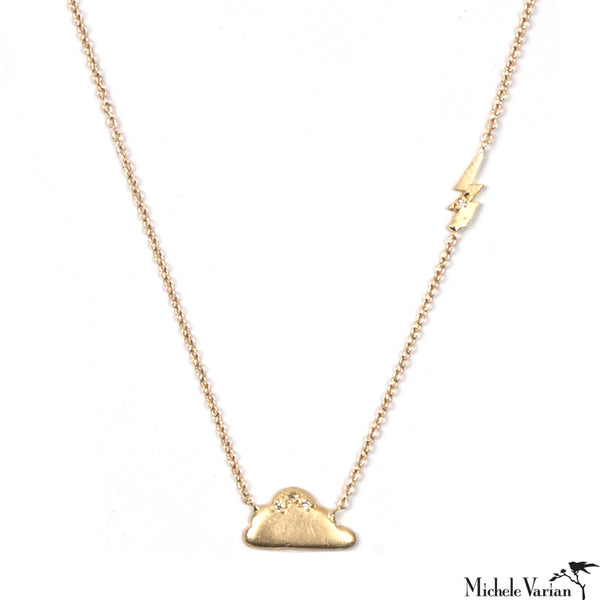 Cloud and Lightning Diamond Gold Necklace