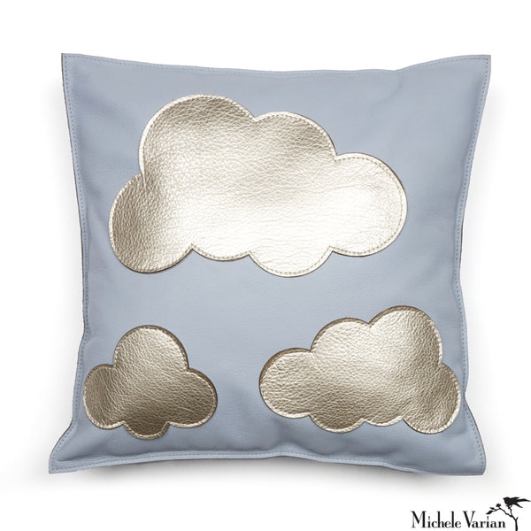 Pealized Leather Pillow with Platinum Clouds