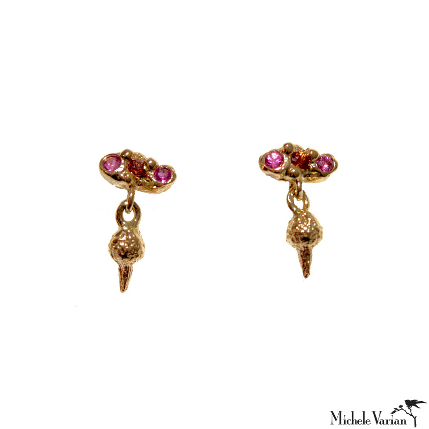 Pink Sapphire Trio with Gold Dangle Sunbeam Drop Stud Earrings