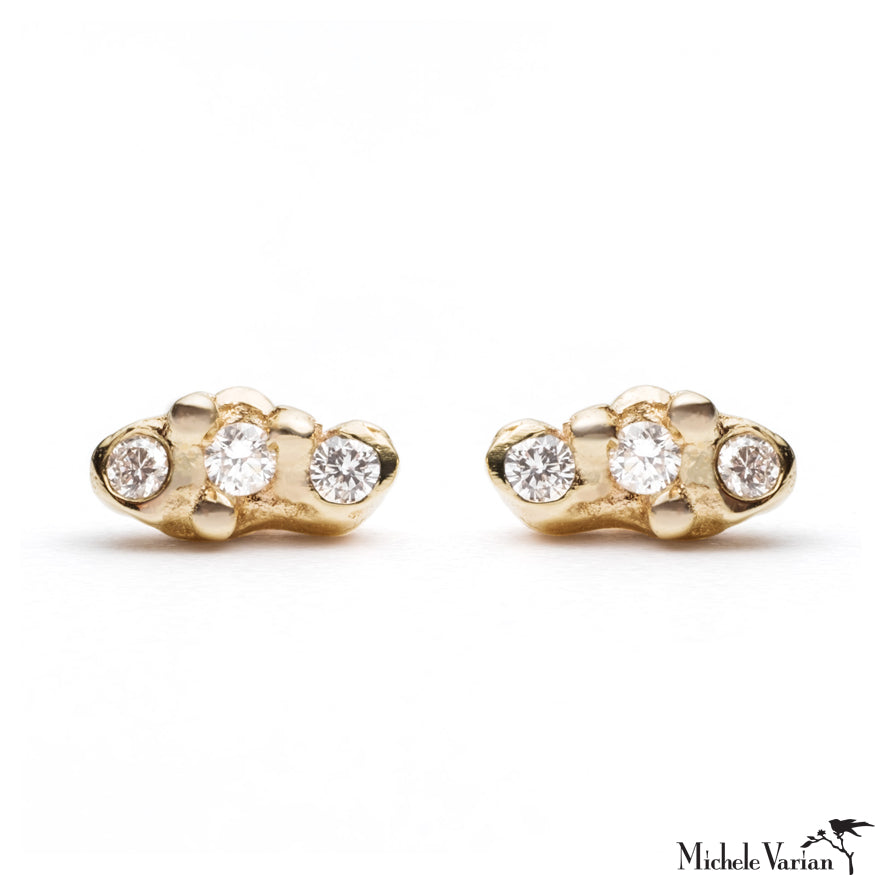 Diamond Trio Cloud Gold Stud Earrings