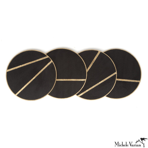 Hand Painted Wooden Coasters Black