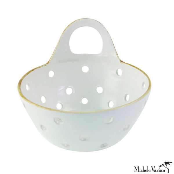 Stoneware Colander Basket with Handle
