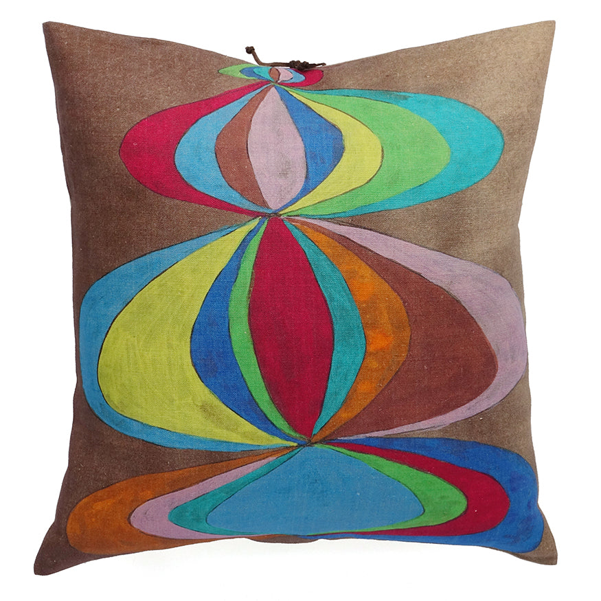 Printed Linen Pillow Concentric Multi 20x20