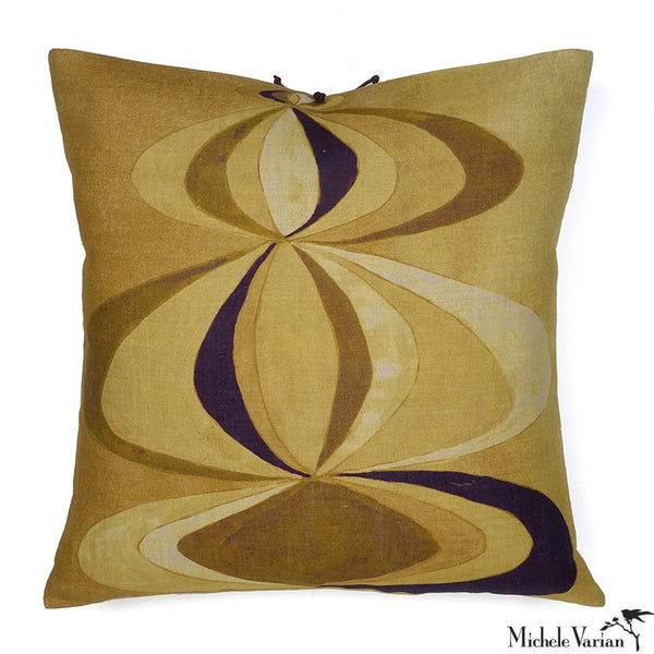 Printed Linen Pillow Concentric Ochre 22x22