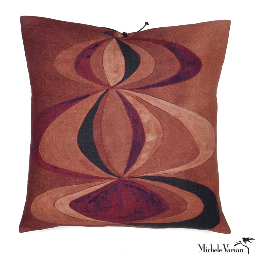 Printed Linen Pillow Concentric Rouge 22x22