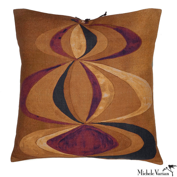 Printed Linen Pillow Concentric Sienna 22x22